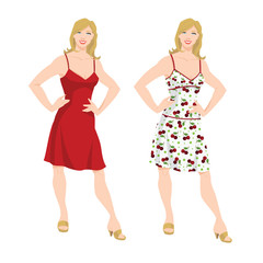 Vector illustration of young woman in different color of the dress