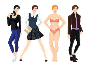 Vector illustration of young women in different clothes