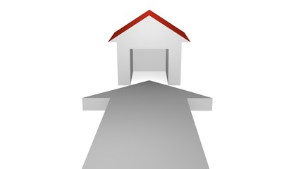 3d illustration, weißer pfeil zeigt auf ein Haus