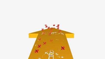 3d illustration, gelber pfeil mit einer Wasserwelle in der Prozentzeichen schwimmen