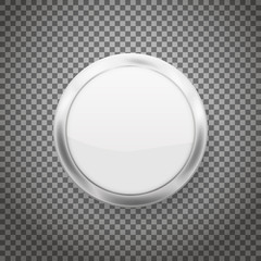 Round buttons with chrome frame isolated on transparent background. Vector illustration.