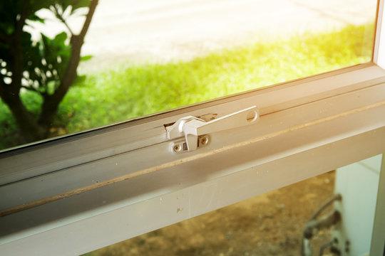 Glass window handle lock