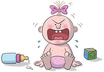 Illustration of sitting baby, very angry with baby bottle