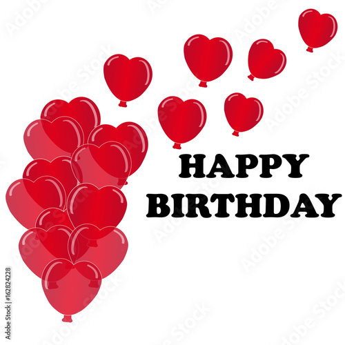 Hearts Balloon On White Background With Text Happy Birthday Vector