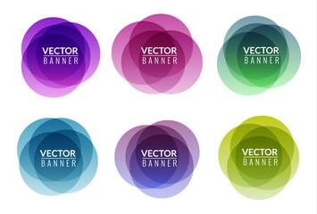 Set of colorful round abstract banners overlay shape. Graphic banners design. Label graphic fun tag concept Wall mural
