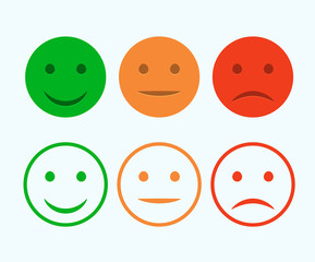 Smiley icon set. Emoticons positive, neutral and negative. Vector isolated red and green mood. Rating smile for customer opinion