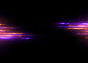 Beautiful light flares. Glowing streaks on dark background. Luminous abstract sparkling lined background. .light effect wallpaper. Sci fi technology. Sequins backdrop. Gala