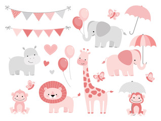 Cute Jungle Animals Set for Baby Showers and Birthdays