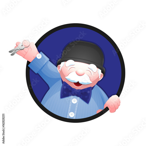 Cartoon Portrait Of A Real Estate Agent Cheerful Senior Man In
