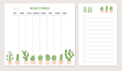 Weekly planner and to do list with cactus illustration. Vector.