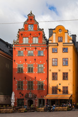 STOCKHOLM, SWEDEN - SEPTEMBER 17, 2016: Colorfull old houses of old town - Stortorget, popular touristic attraction.