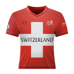 National jersey for football team of Switzerland. Best vector illustration for soccer, sport game, football, championship, national team, gameplay, etc