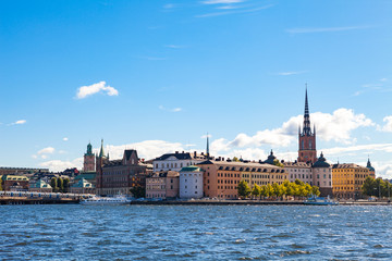 STOCKHOLM, SWEDEN - SEPTEMBER 17, 2016: Gamlastan (Old town) Panoramic view with bridge