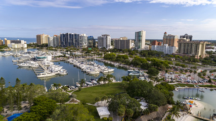 Printed roller blinds Xian Drone view of bayfront park, Marina Jack and the downtown Sarasota Florida area.