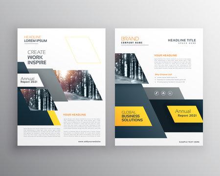 modern yellow brochures set for business presentation or branding