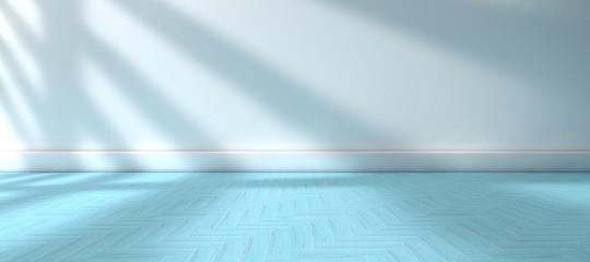 Fondo de architectura. Pared blanca y suelo de baldosas azules .Habitación y espacio vacio y luz de sol entrando por la ventana