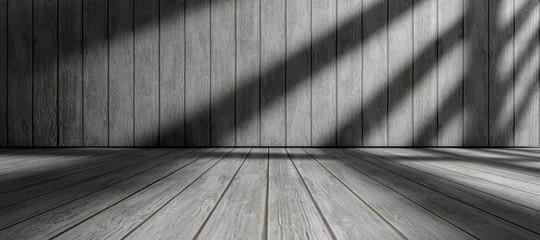 Fondo de arquitectura.Interior de casa.Habitación vacia con suelo de madera y pared de madera.Luz del sol entrando por la ventana.