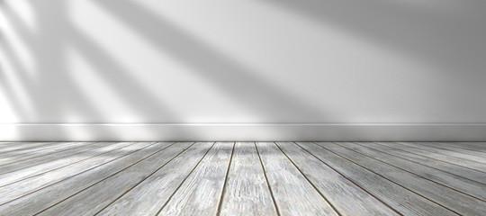Fondo de arquitectura.Interior de casa.Habitación vacia con suelo de madera y pared blanca.Luz del sol entrando por la ventana.