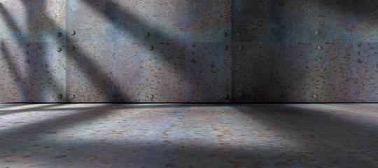Fondo de suelo y pared de metal.Espacio oscuro y vacio  y luz de sol entrando por la ventana