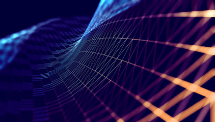 Fondo abstracto de tecnologia y ciencia.Malla o red con lineas y formas geometricas.