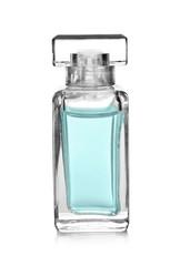 Female perfume in beautiful bottle on white background