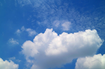 White Fluffy Clouds on Vivid Blue Sky of Sunny Day in Bangkok, Thailand