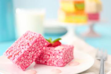 Strawberry crispy dessert on plate