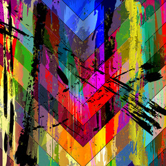 abstract background composition, with paint strokes, splashes and triangles