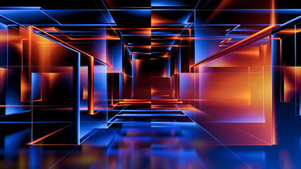 3D rendering. Virtual reality abstract cyber space..Modern technology. Box scheme. Neural network. Glass blocks. Web construction. .Industrial cube objects. Hardware quantum form. Smart build.