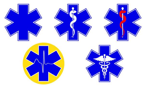 Medical international symbols set. Star of life, staff of Asclepius, caduceus, Vector