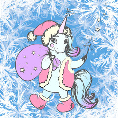 Frame winter frost decor and cute xmas unicorn