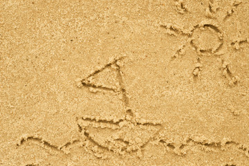 yacht on sea drawing in sand
