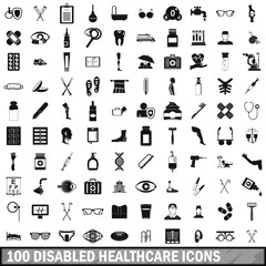 100 disabled healthcare icons set, simple style