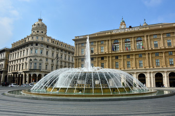 "The fountain in the middle of ""Piazza De Ferrari"", the main square of Genoa, Italy"
