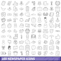 100 newspaper icons set, outline style