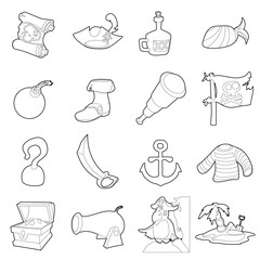 Pirate culture symbols icons set, outline style