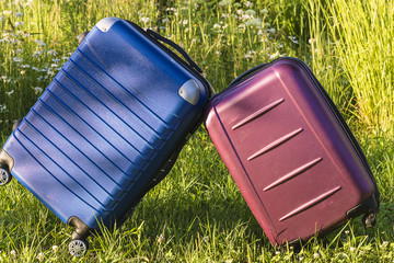 travel concept/two suitcases outdoors