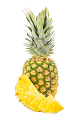 Natural pineapple with white background