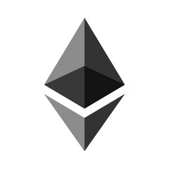 Symbol of digital crypto currency Ethereum, gray.