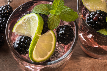 Blackberry mint mojitos