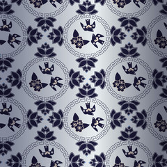 blue pattern with Chinese traditional symbol  with birds and flowers