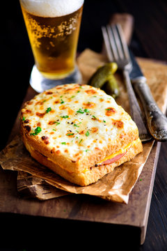 Croque Monsieur Sandwich with Beer