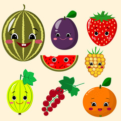 Cute cartoon fruit characters sticker set. Fruit Sticker Collection.