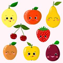 Cute cartoon fruit characters sticker set. Fruit Sticker Collection.