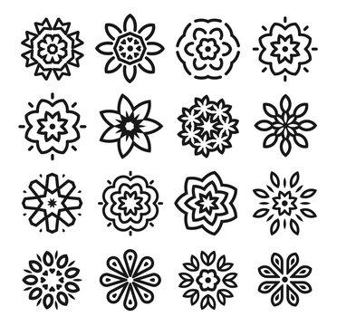 Linear flowers logo set. Monochrome simple line art logotype collection. Florist decorative design element. Vector illustration