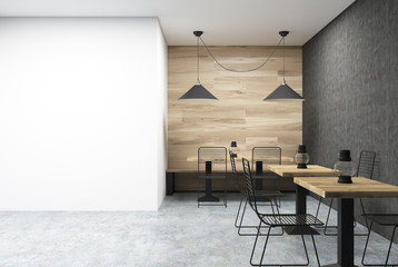 Wooden, black and white cafe, wall