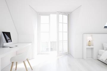 White attic bedroom, home office