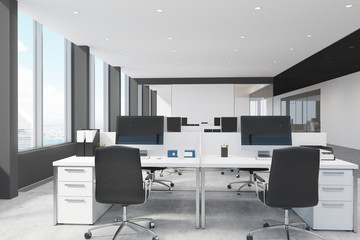 White and black open space office