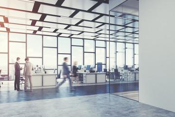 Open office, loft, glass, side view, men