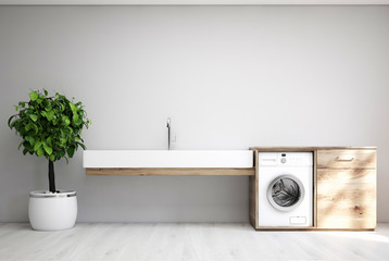 Gray laundry room, sink, washing machine